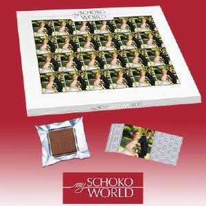 24 personalisierte Schoko-Bilder als Tischdeko