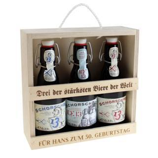 Drei der stärksten Biere der Welt mit Gravur