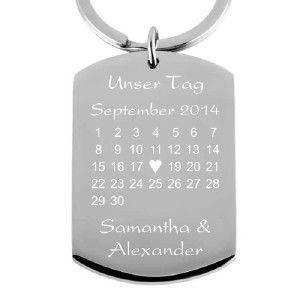 Edelstahl-Schlüsselanhänger mit Gravur Kalender