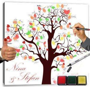 Fingerabdruck Baum auf Künstlerleinwand inkl. Stempelkissen