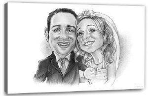 Karikatur vom Foto für Paare
