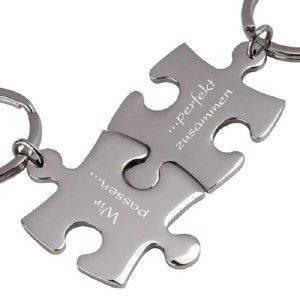 Partner-Schlüsselanhänger mit Gravur Puzzle silber