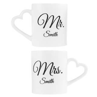 Romantische Partnertassen Mr. & Mrs.