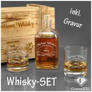 Whiskysets mit gravierter Flasche und geflammter Holzbox